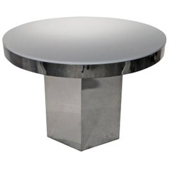 Mid-Century Modern Chrome & Lucite Dining/ Game/ Center Table with Hexagon Base