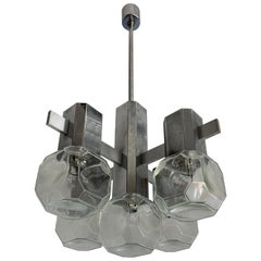 Mid-Century Modern Chrome Metal Pendant Light with Cubical Design Glass Shades