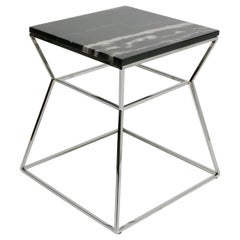 Mid-Century Modern Chrome Metal with Marble-Top Side Table