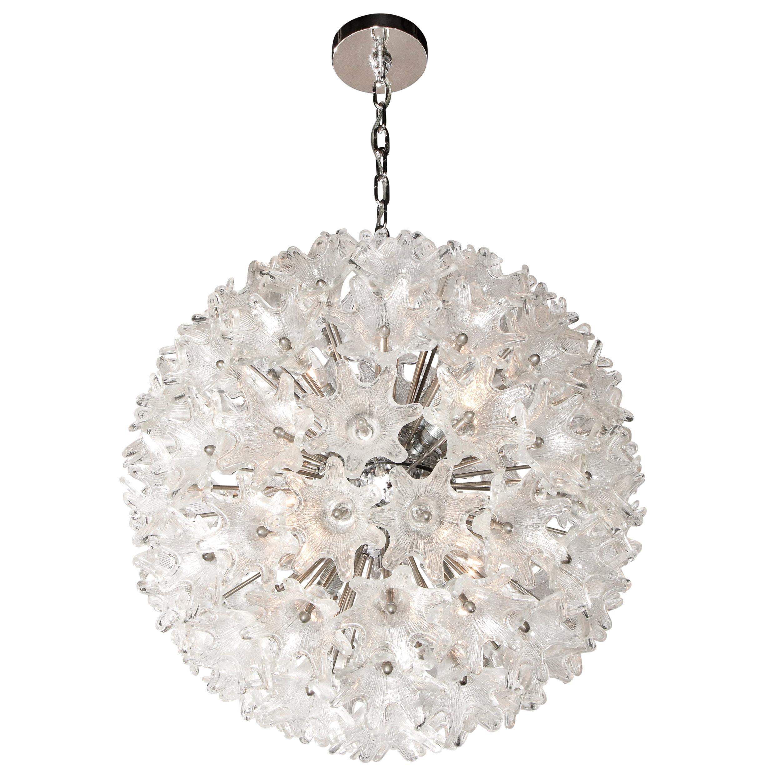 Mid-Century Modern Chrome & Murano Glass Stylized Floral Sputnik Chandelier