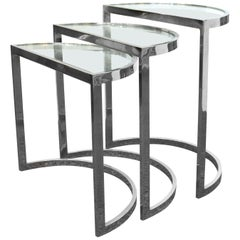 Mid-Century Modern Chrome Nesting Tables in Half-Moon Shapes