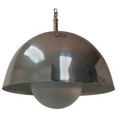 Mid-Century Modern Chrome Pendant Lamp, circa 1968