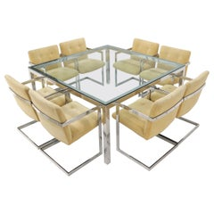 Mid-Century Modern Chrome Set of 8 Chairs and Dining Conference Table