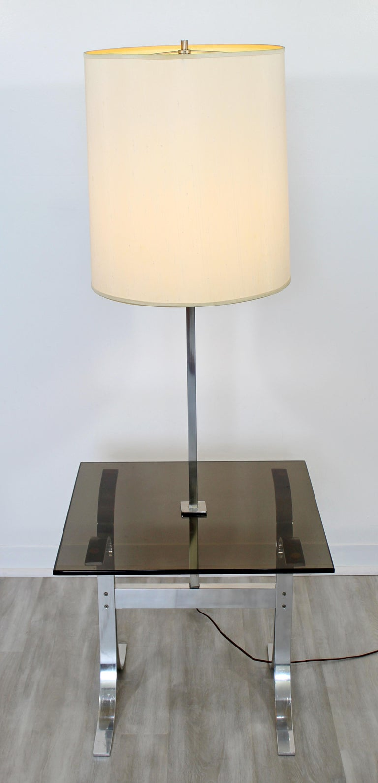 American Mid-Century Modern Chrome Smoked Glass Floor Lamp Table Laurel, 1970s For Sale