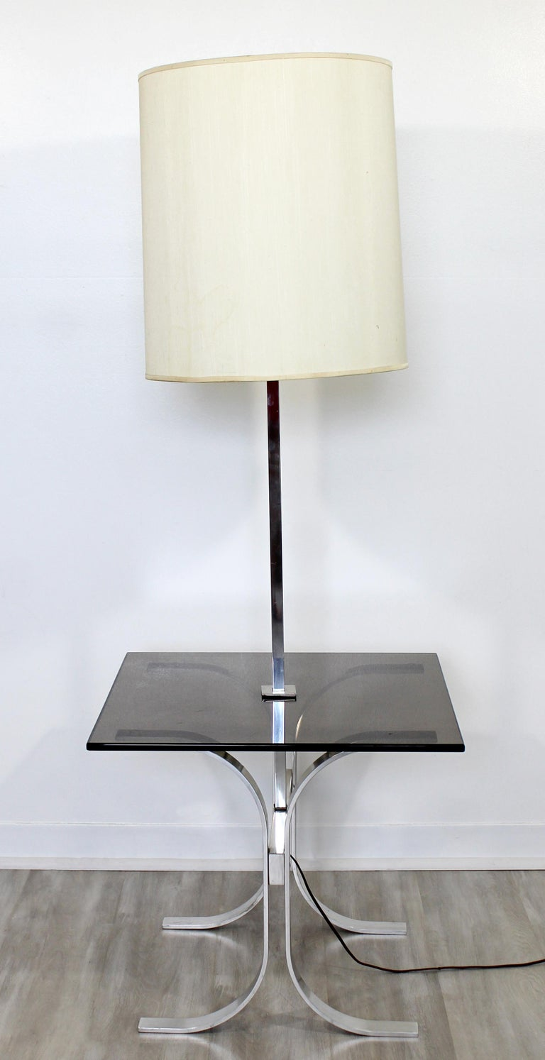 Late 20th Century Mid-Century Modern Chrome Smoked Glass Floor Lamp Table Laurel, 1970s For Sale