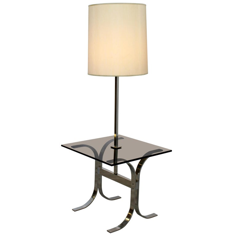 Mid-Century Modern Chrome Smoked Glass Floor Lamp Table Laurel, 1970s For Sale