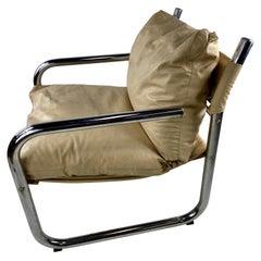 Mid-Century Modern Chrome Tubular Leather Sling Lounge Chair