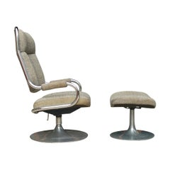 Mid-Century Modern Chrome Tubular Swivel Lounge Chair with Foot Stool