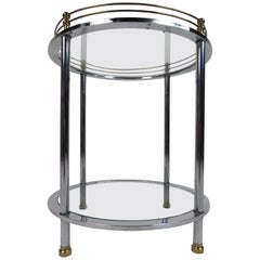 Mid-Century Modern Chrome Two-Tier Side Table