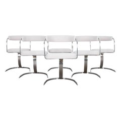 Mid-Century Modern Chrome Upholstered Chairs ,Set of Six