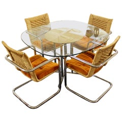 Mid-Century Modern Chromecraft Chrome Rush Rope Rattan Dining Dinette Set 1970s