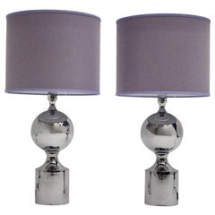Mid-Century Modern Chromed Vintage Table Lamps with Lavender Shade 1960s France