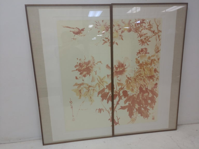 Two framed panels measuring 48.5 x 26.5 to create one Chromolithograph by Greg Copeland signed and numbered 4/250. Asian inspired with flat coloring of yellows and browns. Behind glass and in excellent condition.
