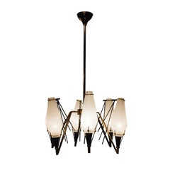 Mid-Century Modern Circular Gold White Brass Glass Ceiling Lamp Italy, 1950