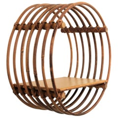 Mid-Century Modern Circular Rattan Wall Hanging Shelf, Spain, 1960s