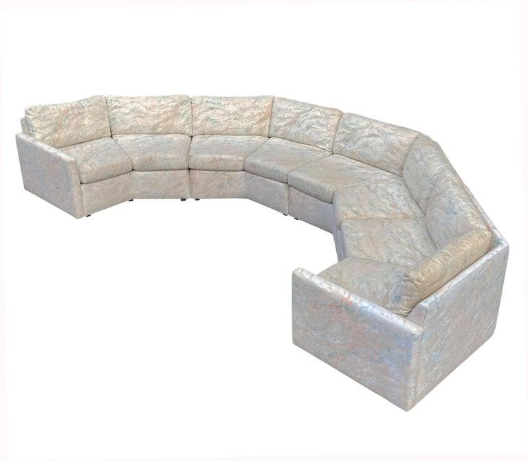 Fabric Mid-Century Modern Circular Sectional Sofa by Milo Baughman for Bernhardt For Sale