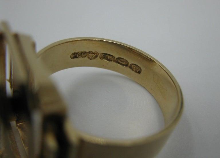 Mid-Century Modern Citrine Ring Finland 14 Karat Gold 1960 Scandinavian Design For Sale 5