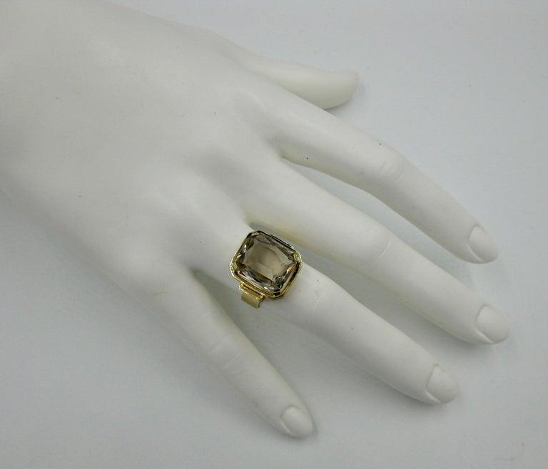 Emerald Cut Mid-Century Modern Citrine Ring Finland 14 Karat Gold 1960 Scandinavian Design For Sale