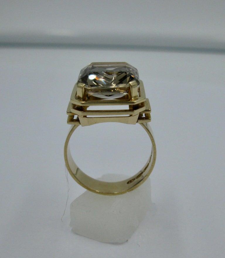 Women's Mid-Century Modern Citrine Ring Finland 14 Karat Gold 1960 Scandinavian Design For Sale