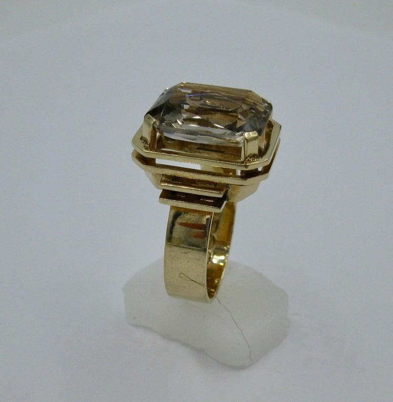 Mid-Century Modern Citrine Ring Finland 14 Karat Gold 1960 Scandinavian Design For Sale 1