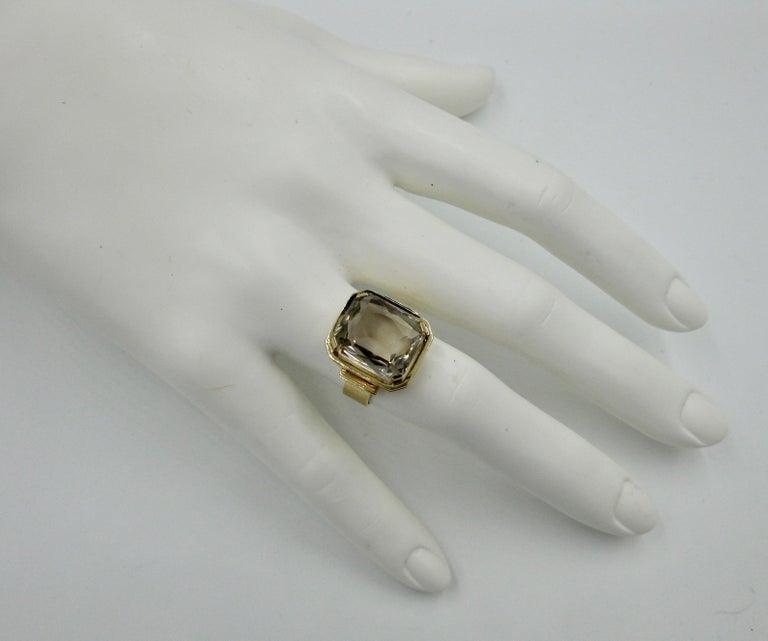 Mid-Century Modern Citrine Ring Finland 14 Karat Gold 1960 Scandinavian Design For Sale 2