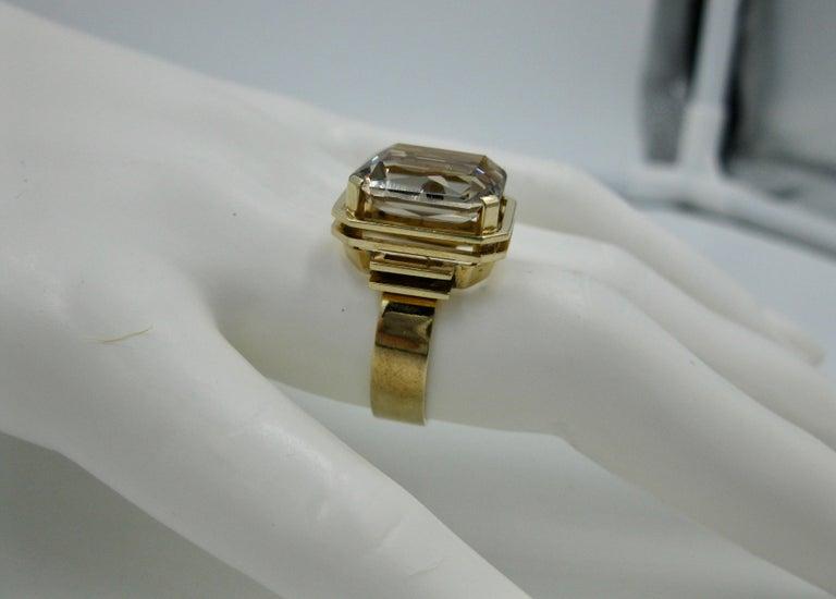 Mid-Century Modern Citrine Ring Finland 14 Karat Gold 1960 Scandinavian Design For Sale 3