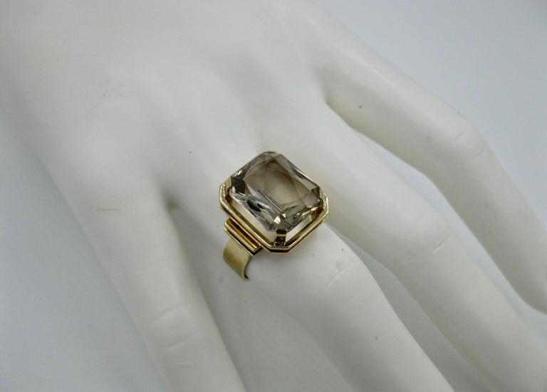 Mid-Century Modern Citrine Ring Finland 14 Karat Gold 1960 Scandinavian Design For Sale 4