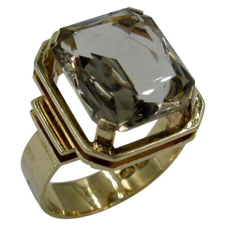 Mid-Century Modern Citrine Ring Finland 14 Karat Gold 1960 Scandinavian Design For Sale