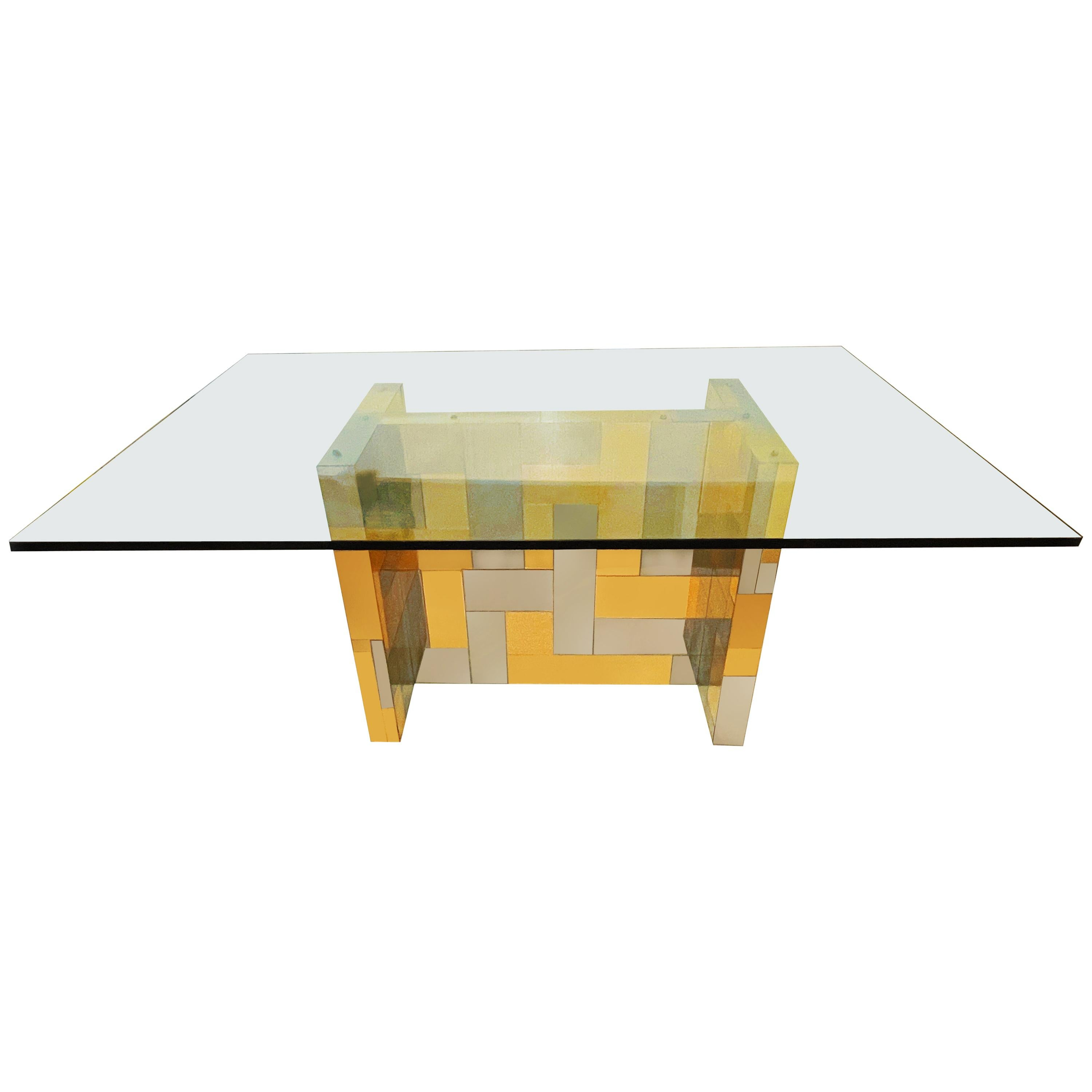 Mid-Century Modern Cityscape Brass, Chrome and Glass Dining Table by Paul Evans