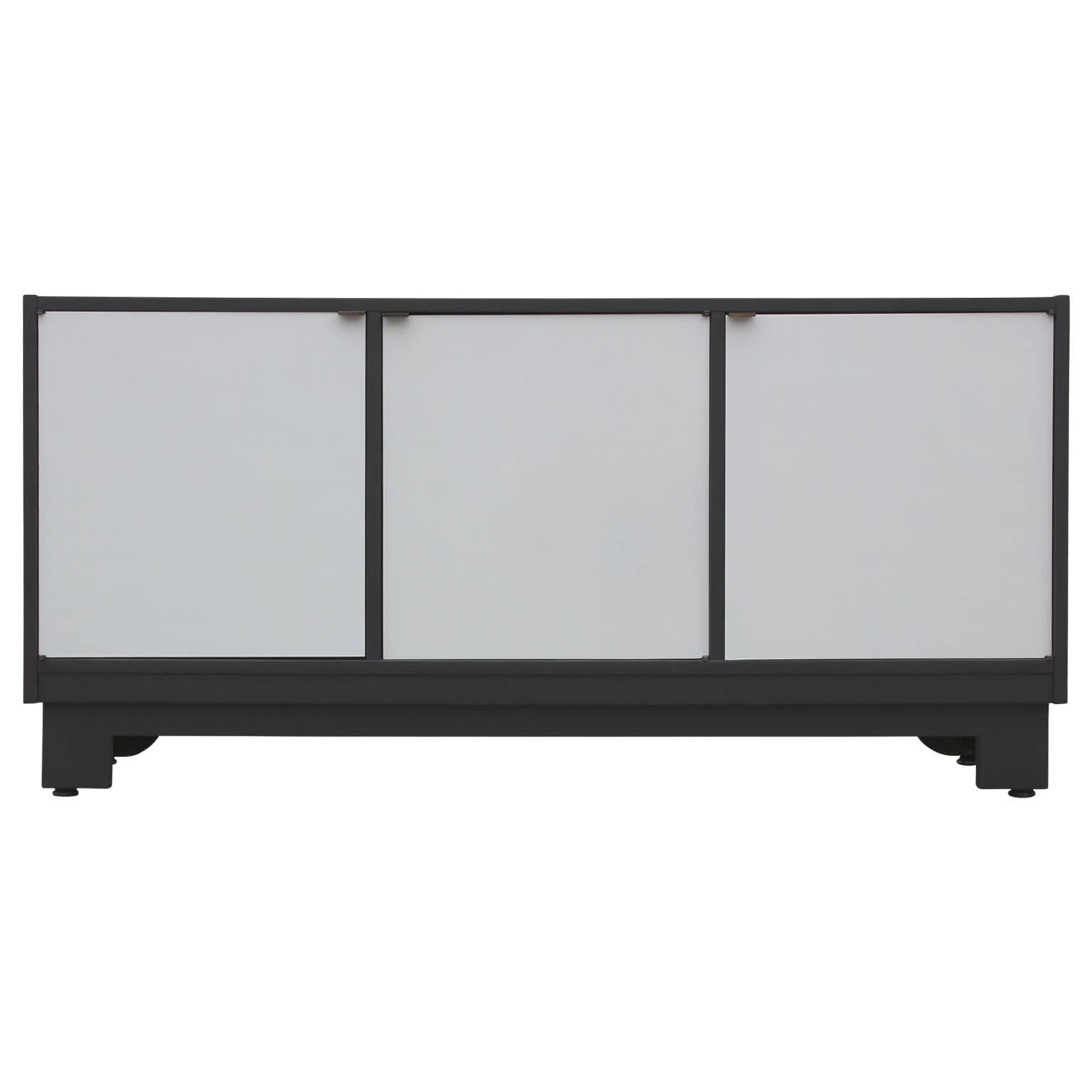 Mid-Century Modern Clean Lined Black and Grey Cabinet or Sideboard