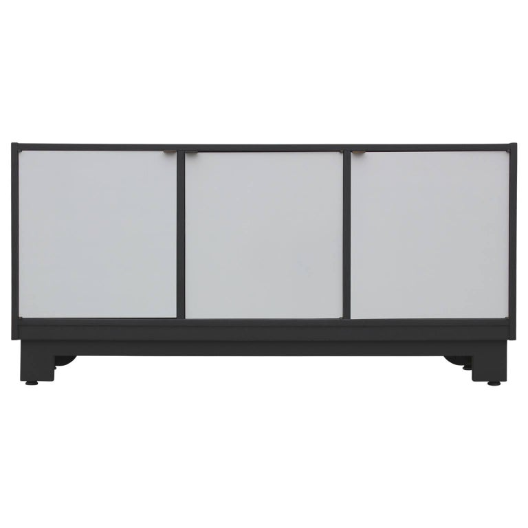 Mid-Century Modern Clean Lined Black and Grey Cabinet or Sideboard For Sale
