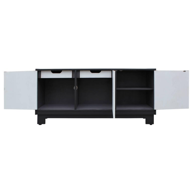 Mid-20th Century Mid-Century Modern Clean Lined Black and Grey Cabinet or Sideboard For Sale