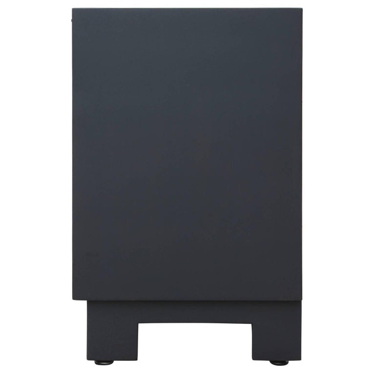 Brass Mid-Century Modern Clean Lined Black and Grey Cabinet or Sideboard For Sale