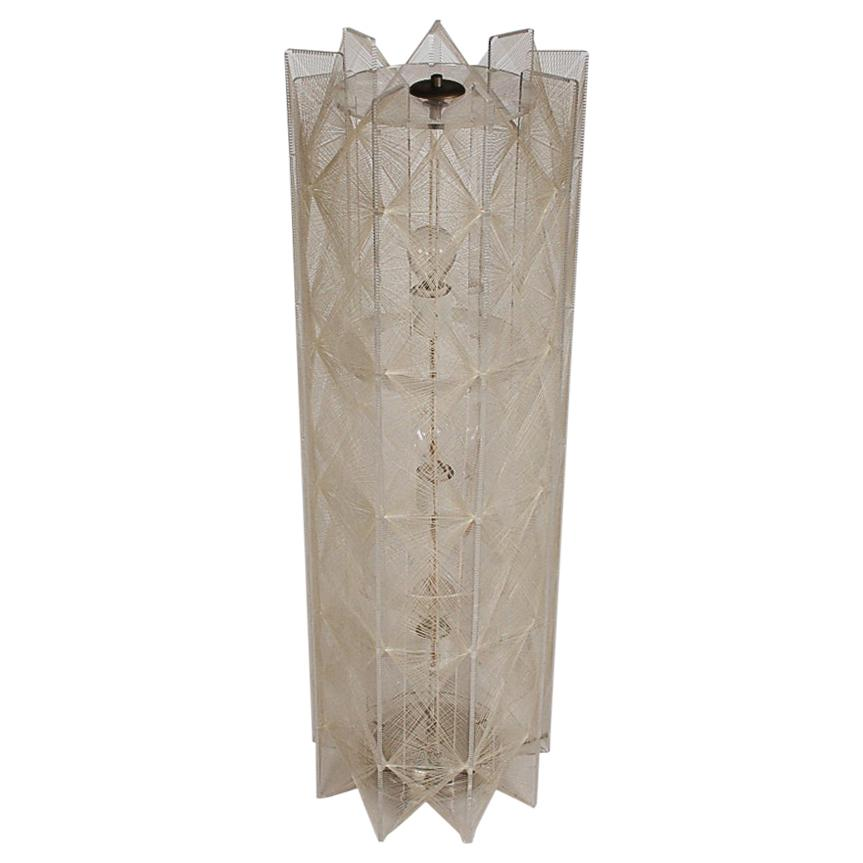 Mid-Century Modern Clear Acrylic Nylon String Large Table Lamp or Floor Lamp