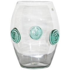 Mid-Century Modern Clear Blenko Handcrafted Glass Vase