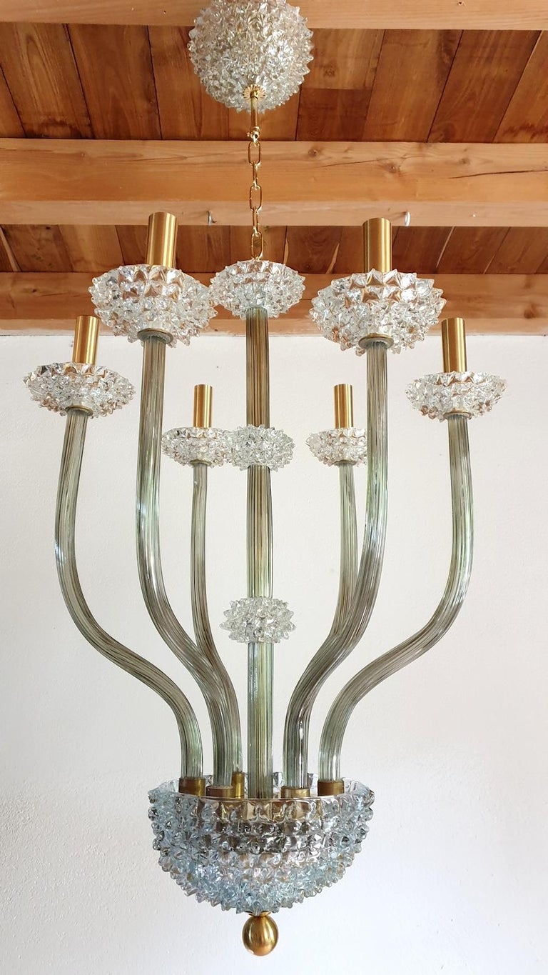 Italian Mid-Century Modern Rostrato Clear/Light Green Murano Textured Glass Chandelier For Sale