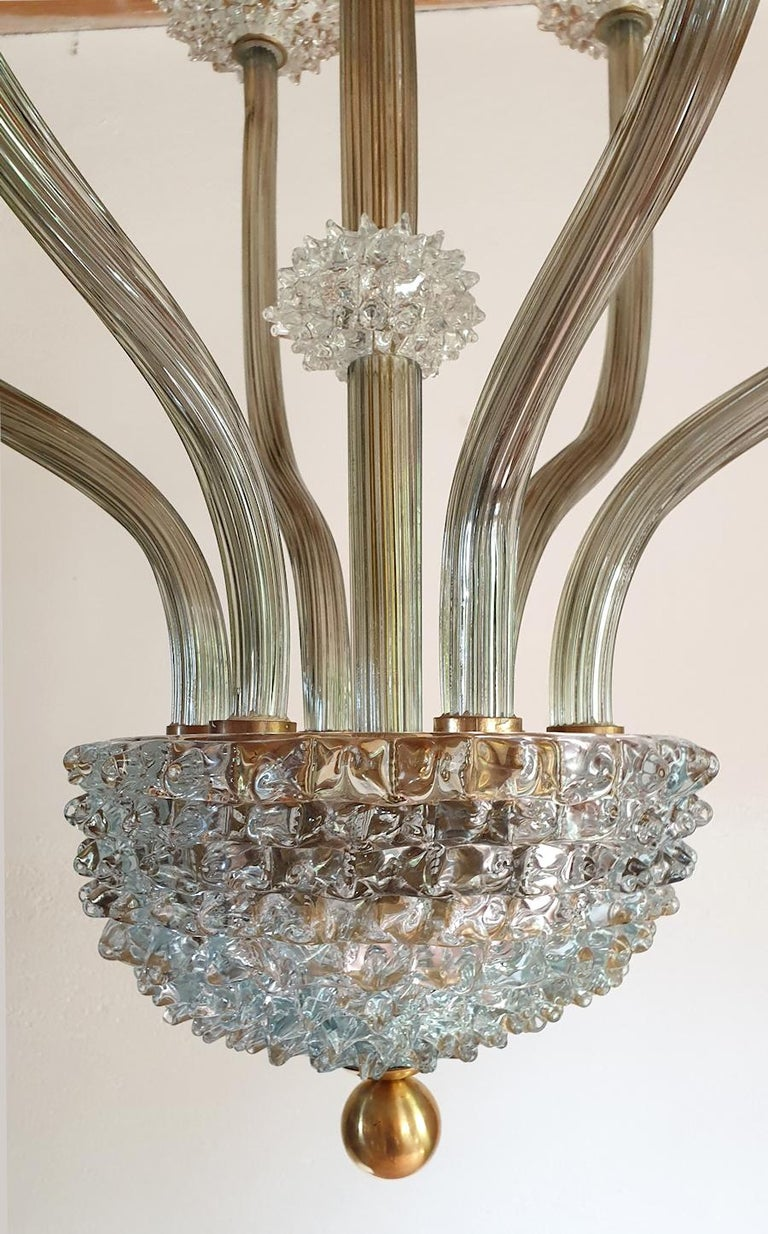 Mid-Century Modern Rostrato Clear/Light Green Murano Textured Glass Chandelier In Excellent Condition For Sale In Dallas, TX