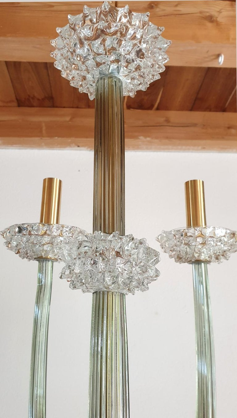Brass Mid-Century Modern Rostrato Clear/Light Green Murano Textured Glass Chandelier For Sale