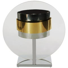 Mid-Century Modern Clear Lucite Brass and Chrome Table Lamp by Pierre Cardin