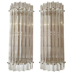 Mid-Century Modern Clear Murano Glass Geometric Sconces by Venini, Italy, 1970s