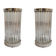 Mid-Century Modern Clear Murano Glass & Nickel Table Lamps, Venini Italy 1980s