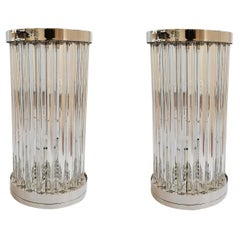 Mid-Century Modern Clear Murano Glass & Nickel Table Lamps, Venini, Italy, 1980s