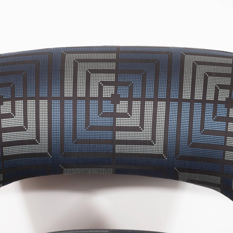 American Mid-Century Modern Club Chair in Sapphire & Platinum Fabric with Ebonized Walnut For Sale