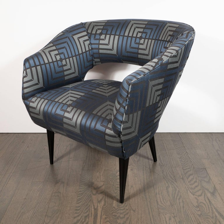 Mid-Century Modern Club Chair in Sapphire & Platinum Fabric with Ebonized Walnut In Excellent Condition For Sale In New York, NY