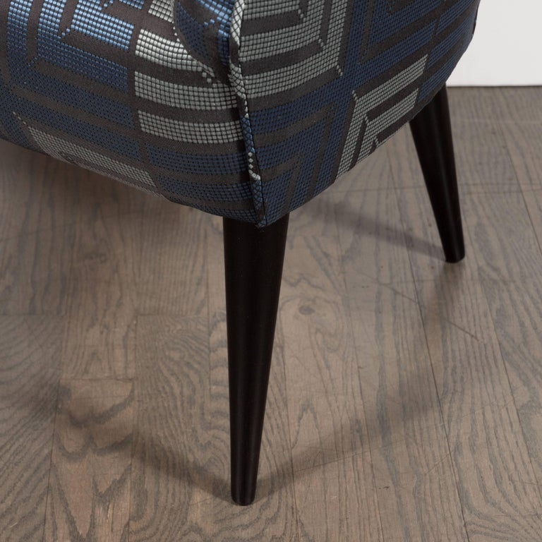 Mid-20th Century Mid-Century Modern Club Chair in Sapphire & Platinum Fabric with Ebonized Walnut For Sale