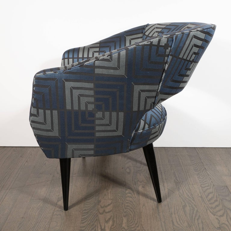 Mid-Century Modern Club Chair in Sapphire & Platinum Fabric with Ebonized Walnut For Sale 1