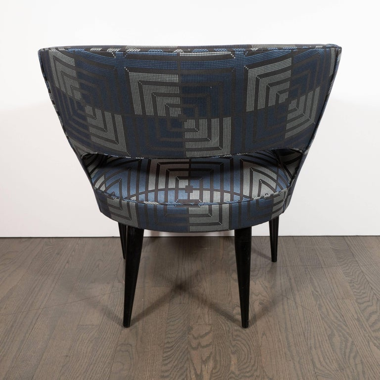 Mid-Century Modern Club Chair in Sapphire & Platinum Fabric with Ebonized Walnut For Sale 2