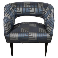 Mid-Century Modern Club Chair in Sapphire & Platinum Fabric with Ebonized Walnut
