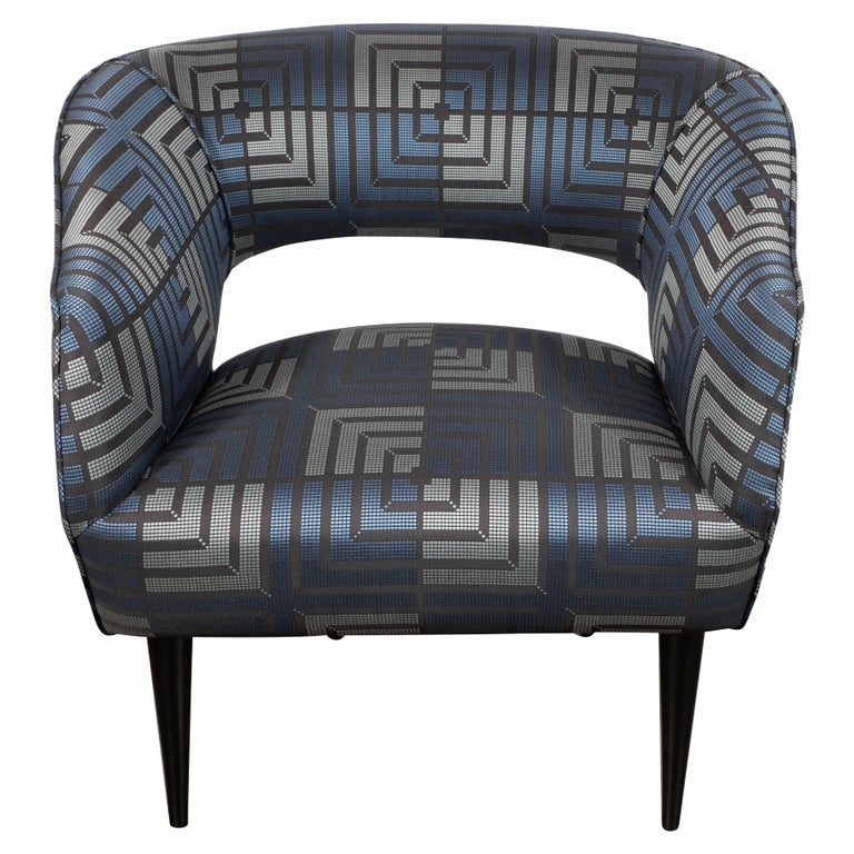 Mid-Century Modern Club Chair in Sapphire & Platinum Fabric with Ebonized Walnut For Sale