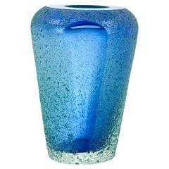 Mid-Century Modern Cobalt & Azure Blue Murano Sommerso Textured Glass Vase